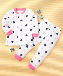 Gigilily Polka Dot Print Tee & Pant Set - White Pink & Navy Blue