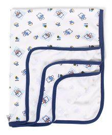 Tinycare Baby Wrapper Teddy Print - Blue White