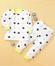 Gigilily Polka Dot Print Tee & Pant Set - White Green & Navy Blue