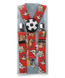 Kid O Nation Suspenders Football Patch - Red