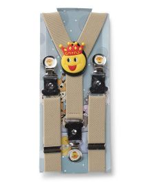 Kid-o-nation Suspenders Smiley King Patch - Beige