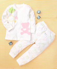 Gigilily Bear Print Tee & Pant Set - Pink & White