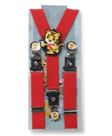 Kid-o-nation Suspenders Tiger Patch - Red