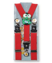 Kid O Nation Suspenders Frog Patch - Red