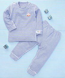 Gigilily Full Sleeves Tee & Pant Set - Blue
