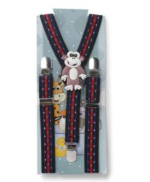 Kid O Nation Suspenders Monkey Patch Blue Red - 63 cm