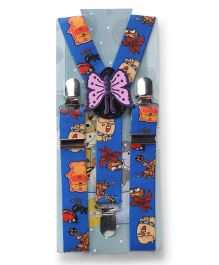 Kid O Nation Suspenders Butterfly Patch - Blue