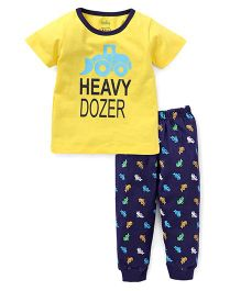 Babyhug Half Sleeves Night Suit Heavy Dozer Print - Yellow & Navy