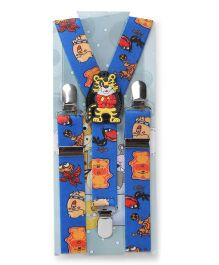 Kid O Nation Suspenders Tiger Patch - Blue