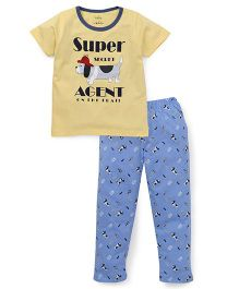 Babyhug Half Sleeves T-Shirt And Pajama Text Print - Yellow Blue