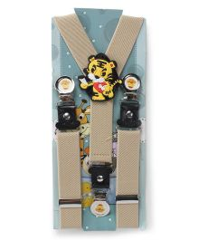 Kid O Nation Suspenders Tiger Patch - Beige