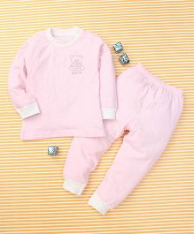 Gigilily Bear Print Tee & Pant Set - Pink