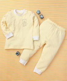 Gigilily Bear Print Tee & Pant Set - Yellow