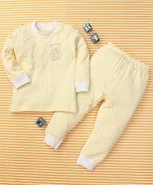 Gigilily Bear Print Tee & Pant Set - Yellow