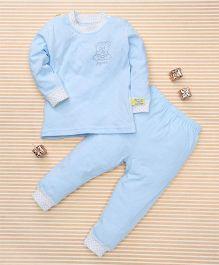 Gigilily Bear Print Tee & Pant Set - Blue