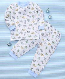 MFM Animal Print T-Shirt & Pant Set - White & Blue