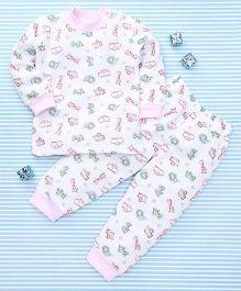 MFM Animal Print T-Shirt & Pant Set - White & Pink