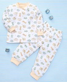 MFM Animal Print T-Shirt & Pant Set - White & Yellow
