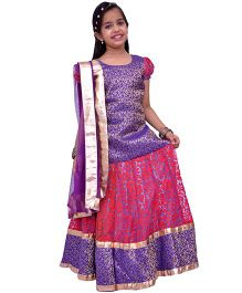 Kilkari Kali Ghagra With Brocade Choli & Dupatta - Red And Purple