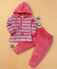 MFM Stripe Print Hooded T-Shirt & Pant - Pink