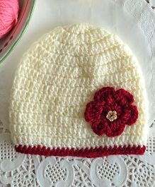 Buttercup From KnittingNani Cap With Red Blossom - Off White