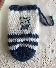 Buttercup From KnittingNani Bottle Cover - Blue & White