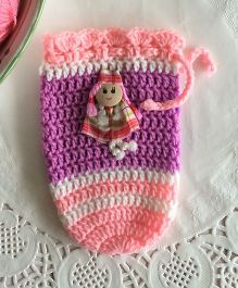 Buttercup From KnittingNani Doll Bottle Cover - Peach & Purple