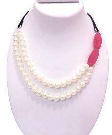 SYN Kidz Designer Double Layered Side Pattern Neckpiece - Pink & White