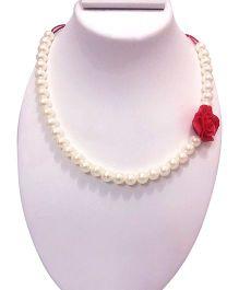 SYN Kidz Designer Side Rose Pendant Neckpiece - White & Red