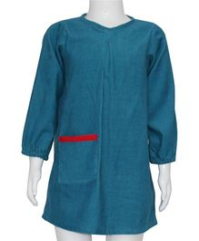 Kadambaby Full Sleeves A Line Frock With Pocket - Blue