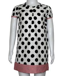 Kadambaby Half Sleeves A Line Frock Polka Dots Print - White And Black