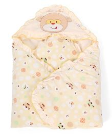 Mee Mee Hooded Blanket Cat Print - Yellow