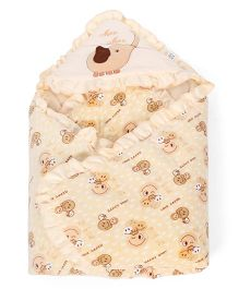 Mee Mee Hooded Blanket Happy Baby Print - Yellow