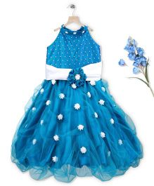 Simply Cute Gown With Flowers On Neck Band - Peacock Blue