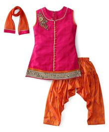 Violet Sleeveless Kurti And Salwar Set - Pink Orange