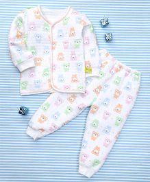 Gigilily Bear Print Shirt & Pant Set - Multicolour