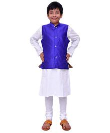 Kilkari Kurta Pajama And Jacket Set - Purple White