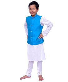 Kilkari Kurta Pajama And Jacket Set - Blue White