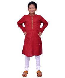 Kilkari Full Sleeves Kurta Pajama Set - Red