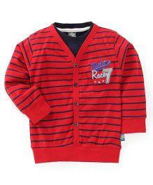 Cucu Fun Full Sleeves Stripes Front Open T-Shirt - Red