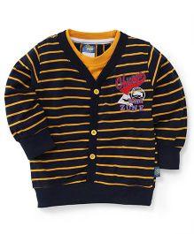 Cucu Fun Full Sleeves Stripes Front Open T-Shirt - Navy