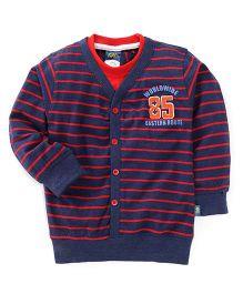 Cucu Fun Full Sleeves Stripes Front Open T-Shirt - Navy Red