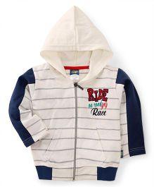Cucu Fun Full Sleeves Striped Hoodie - White Navy