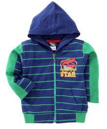 Cucu Fun Full Sleeves Striped Hoodie - Blue Green