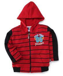 Cucu Fun Full Sleeves Striped Hoodie - Red Black