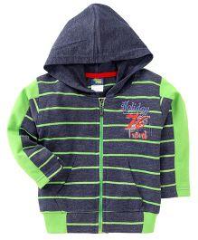 Cucumber Full Sleeves Stripes Winter Wear Hoodie - Grey