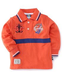 Cucu Fun Full Sleeves Tee Printed Polo T-Shirt - Peach