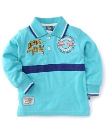 Cucu Fun Full Sleeves Tee Printed Polo T-Shirt - Sky Blue