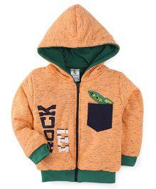 Cucumber Full Sleeves Printed Winter Wear Hoodie - Orange