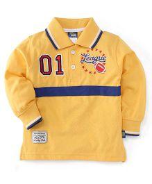 Cucu Fun Full Sleeves Tee Printed Polo T-Shirt - Yellow